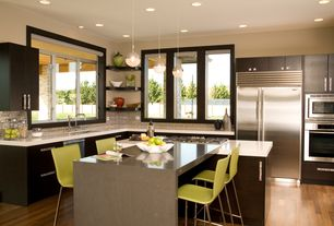 Modern Kitchen with Casement, Pendant light, Flush, Breakfast nook, Subway Tile, Standard height, Built In Refrigerator