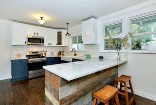 Contemporary Kitchen with Subway Tile, Pendant light, flush light, Inset cabinets, Flat panel cabinets, Farmhouse sink
