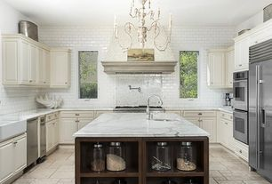 Traditional Kitchen with Custom hood, Travertine Tile PATERA CHISELED PATTERN, Simple Granite, Flush, limestone tile floors