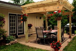 Country Porch with exterior stone floors, Outdoor kitchen, Trellis, French doors