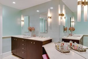 Contemporary Master Bathroom with full backsplash, Limestone counters, Subway Tile, Wall sconce, Standard height, can lights