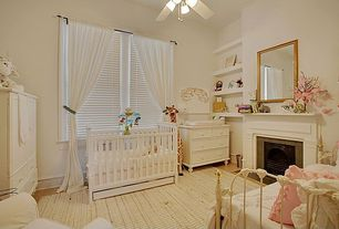 Traditional Kids Bedroom with High ceiling, metal fireplace, Ceiling fan, stone fireplace, Concrete floors
