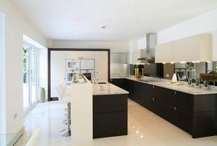 Contemporary Kitchen with Simple granite counters, Breakfast bar, Flush, Kitchen island, Undermount sink, European Cabinets