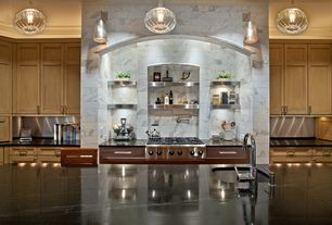 Contemporary Kitchen with Flat panel cabinets, Complex Marble Tile, Stone Tile, Kitchen island, full backsplash, can lights