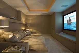 Contemporary Home Theater with Built-in bookshelf, Theta Swing-Arm Table Lamp, Camelot Collection Cream Decorative Throw