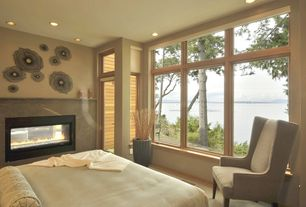 Modern Master Bedroom with French doors, picture window, insert fireplace, Transom window, Fireplace, Vinyl wall decal