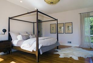 Contemporary Guest Bedroom with flush light, Natural Rugs Geneva White Natural Solid Area Rug, Voile Drape, Hardwood floors