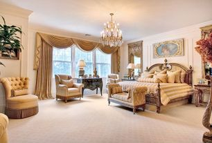 Traditional Guest Bedroom with Chandelier, Crown molding, Carpet, High ceiling