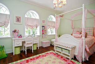 Traditional Kids Bedroom with Chandelier, Standard height, Arched window, Crown molding, Hardwood floors, no bedroom feature