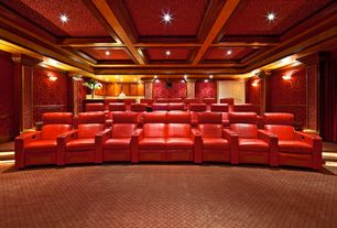 Traditional Home Theater with Crown molding, Carpet, Box ceiling, Chair rail, Columns, interior wallpaper, Wall sconce