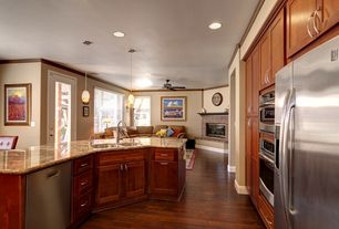 Traditional Kitchen with Pendant light, High ceiling, Kitchen island, One-wall, Flat panel cabinets, Complex granite counters
