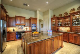 Traditional Kitchen with Ms International Boreal Granite, MS International Ivory Travertine 4x4 Honed And Beveled Tile