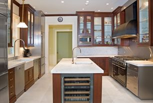 Contemporary Kitchen with Farmhouse sink, travertine tile floors, Crown molding, Pendant light, Undermount sink, Flush