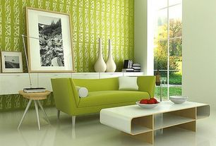 Contemporary Living Room with Paint, simple marble floors, floor to ceiling window, Built-in bookshelf, Sofa, picture window