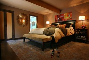 Contemporary Master Bedroom with bedroom reading light, Standard height, French doors, Carpet, Exposed beam
