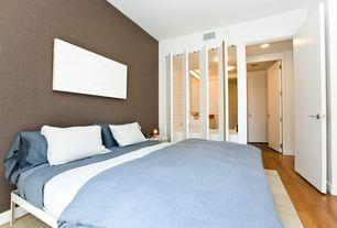 Modern Master Bedroom with interior wallpaper, West Elm Simple Bed Frame White, Hardwood floors