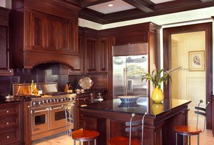 Traditional Kitchen with Paint 1, Raised panel, Standard height, Custom hood, Soapstone, full backsplash, Crown molding