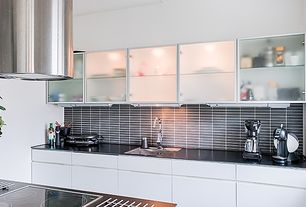 Contemporary Kitchen with European Cabinets, One-wall, Large Ceramic Tile, Destiny: edison cabinets (high gloss thermofoil)