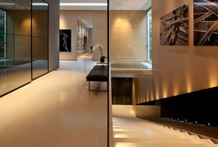 Contemporary Hallway with Laminate floors, MNM Star Stone Cream Quartz Tile, Custom Mirror Panel