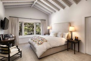 Cottage Guest Bedroom with Exposed beam, High ceiling, Sloan Wood Ball Table Lamp Base, Bay window, Carpet