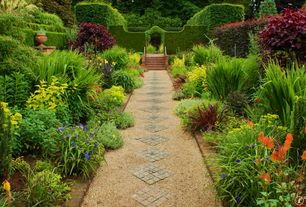 Traditional Landscape/Yard with Pathway, Arbor, Flax Lily - Dianella caerulea, Raised beds, New Zealand Flax - Phormium