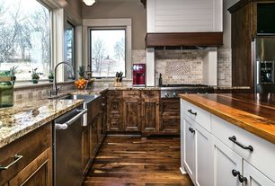 Craftsman Kitchen with Raised panel, Wood counters, WHITE OAK BUTCHER BLOCK COUNTERTOP - CUSTOMIZE & ORDER ONLINE, Flush