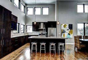 Contemporary Kitchen with High ceiling, Pendant light, Crate and barrel spin bar stools, European Cabinets, Breakfast bar
