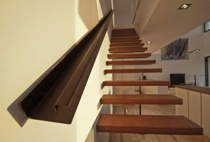 Modern Staircase with High ceiling, Concrete floors, Floating staircase, Balcony
