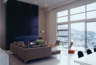 Contemporary Great Room with Exposed beam, complex marble floors
