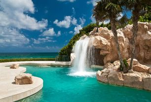 Tropical Swimming Pool with exterior tile floors, Fountain, Pathway, Landscape