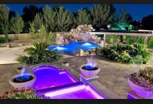 Tropical Swimming Pool with Fence, Trellis, Fire pit, exterior stone floors, Pool with hot tub