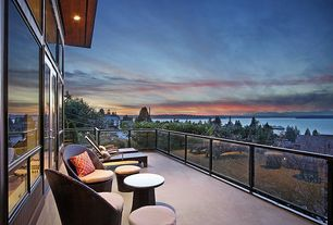 Contemporary Deck with French doors, exterior stone floors