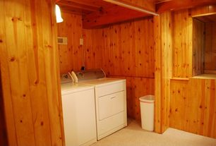 Rustic Laundry Room with Pendant light, Carpet, Exposed beam, Chair rail, Undermount sink