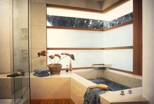 "Contemporary Master Bathroom with 23"" X 15"" Spa Shower & Floor Mat, Salerno Nubi Bianche 10 in. x 14 in. Ceramic Wall Tile"