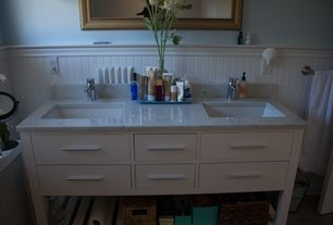 Contemporary Master Bathroom with Undermount sink, Double sink, Nickel finish towel bar, Wainscotting, Marble countertop
