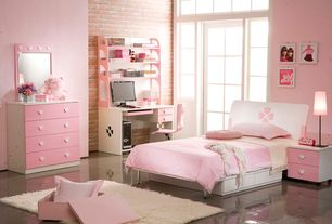 Contemporary Kids Bedroom with stone tile floors, no bedroom feature, specialty window, simple marble tile floors, Art desk