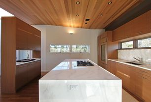Contemporary Kitchen with Wall sconce, Quartz countertop, Undermount sink, High ceiling, electric cooktop, Kitchen island