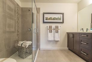 Traditional 3/4 Bathroom with MS International  Durango Cream Travertine, Flush, frameless showerdoor, Limestone counters