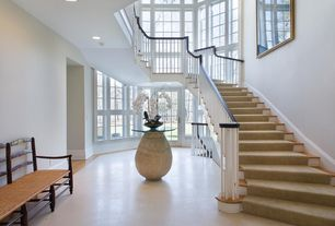Contemporary Staircase with Cathedral ceiling, Ancient mosaics ams616b end table base, Loft, Laminate floors