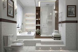 Contemporary Master Bathroom with Casement, specialty door, interior wallpaper, Master bathroom, frameless showerdoor, Shower