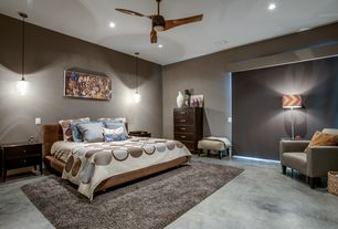 Modern Master Bedroom with Ceiling fan, Niche 4-drawer dresser - chocolate, Concrete floors, Pendant light