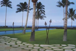 Tropical Landscape/Yard with Reflection pool, Big Kahuna Black Cone Permanent Gas Tiki Torch, Palm trees, Flagstone pavers