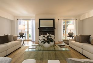 Contemporary Living Room with Hardwood floors, French doors