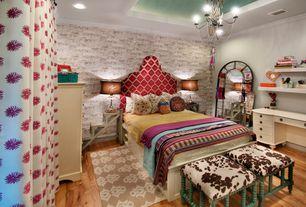 Eclectic Kids Bedroom with Standard height, Paint 2, interior wallpaper, Bamboo floors, Chandelier, Paint, no bedroom feature