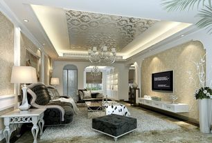 Traditional Living Room with Astek the gardens of amsterdam white silver ornate beaux wallpaper, can lights, Chandelier