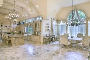 Kitchen with French doors, Flush, Exposed beam, Chandelier, High ceiling, Breakfast bar, Large Ceramic Tile, Custom hood