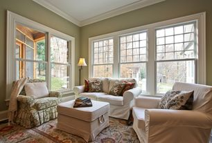 Traditional Living Room with Hardwood floors, Ikea ektorp loveseat, Crown molding, Ikea ektorp footstool, Ikea ektorp chair