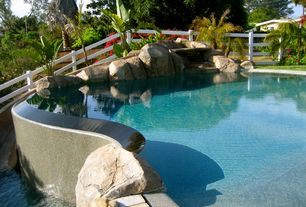 Rustic Swimming Pool with Pathway, exterior stone floors, Fence