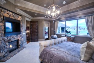Eclectic Master Bedroom with 1800 lighting quorum international 6216-6 salento 27 inch chandelier, Paint, Wood crown molding