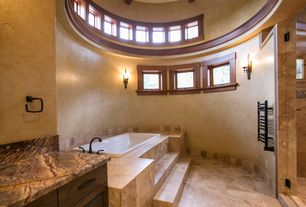 Country Master Bathroom with Flush, Simple marble counters, European Cabinets, frameless showerdoor, Master bathroom